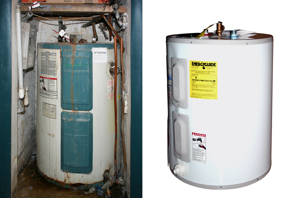 Kelowna and West Kelowna Plumbers - A1 Choice - Before and after water tank installation
